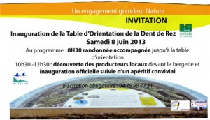 Invitation à l'inauguration de la table d'orientation.