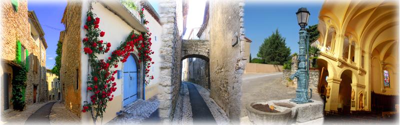Ruelles, fontaine, église de St-Remèze