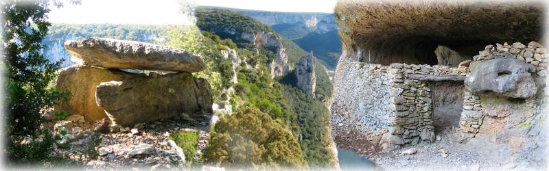 Dolmen du Chanet, Cathédrale de la Madeleine, abri d'Autridge dans les Gorges